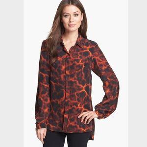 Rachel Roy Red Tortoise Print Silk Shirt Top NWT!!